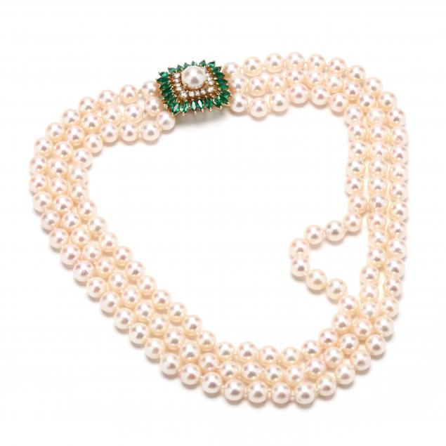 18kt-triple-strand-akoya-pearl-emerald-and-diamond-necklace