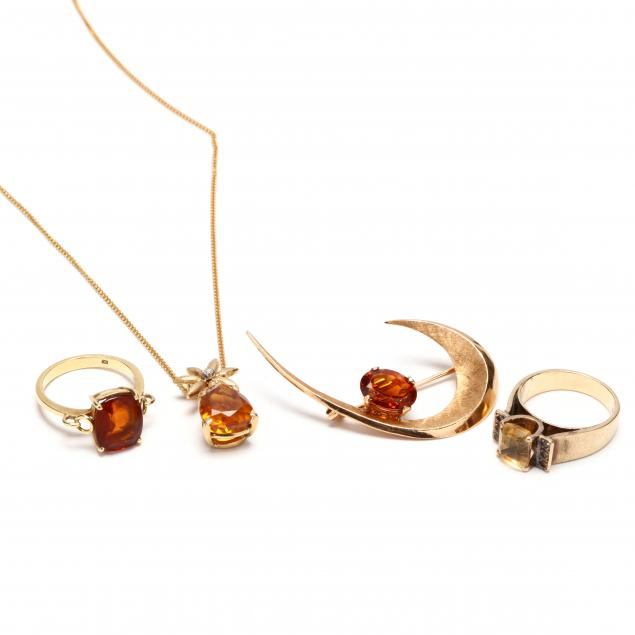 four-gold-and-citrine-jewelry-items
