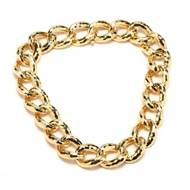18kt-gold-hammered-link-necklace-henry-dunay