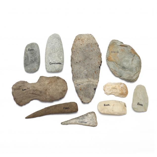 nine-prehistoric-stone-implements-edgecombe-county-north-carolina