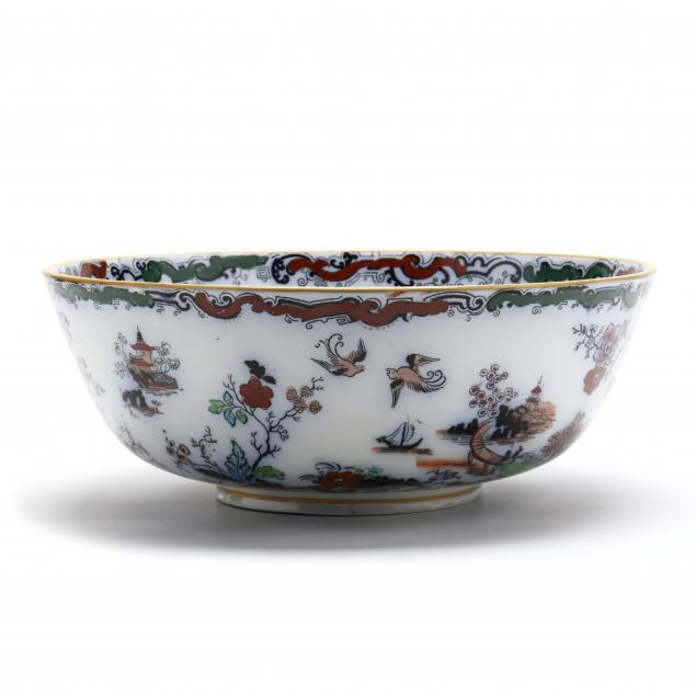 an-antique-mason-s-ironstone-chinoiserie-punch-bowl