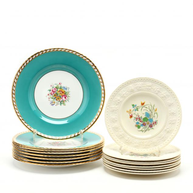 two-sets-of-vintage-floral-decorated-plates-wedgwood-and-mintons