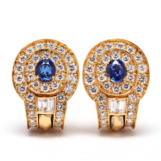 18kt-gold-sapphire-and-diamond-earrings-signed