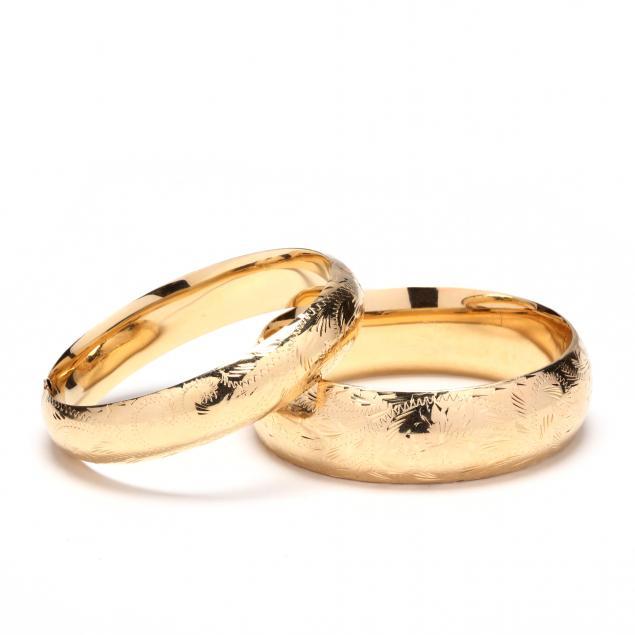 two-14kt-gold-bangle-bracelets