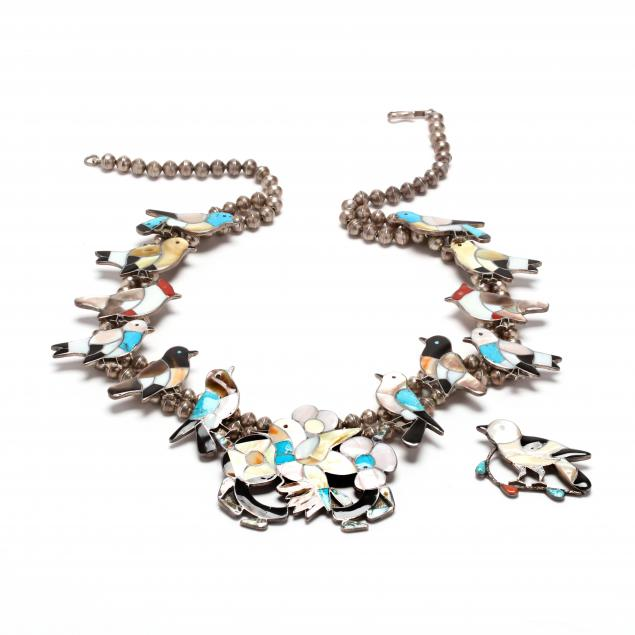 southwestern-silver-multi-stone-bird-motif-squash-blossom-necklace-and-brooch