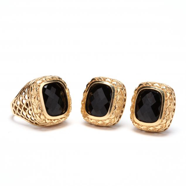 14kt-gold-and-onyx-earrings-and-ring