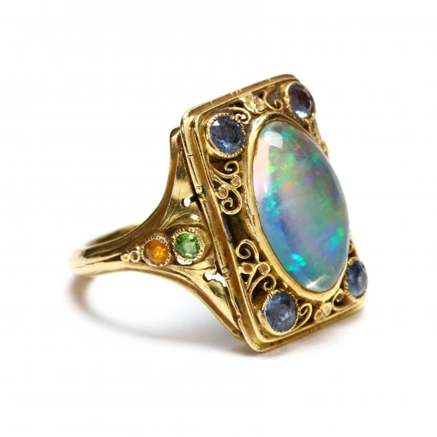 arts-and-crafts-gold-opal-and-gemstone-ring