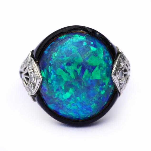art-deco-platinum-14kt-gold-opal-diamond-and-enamel-ring