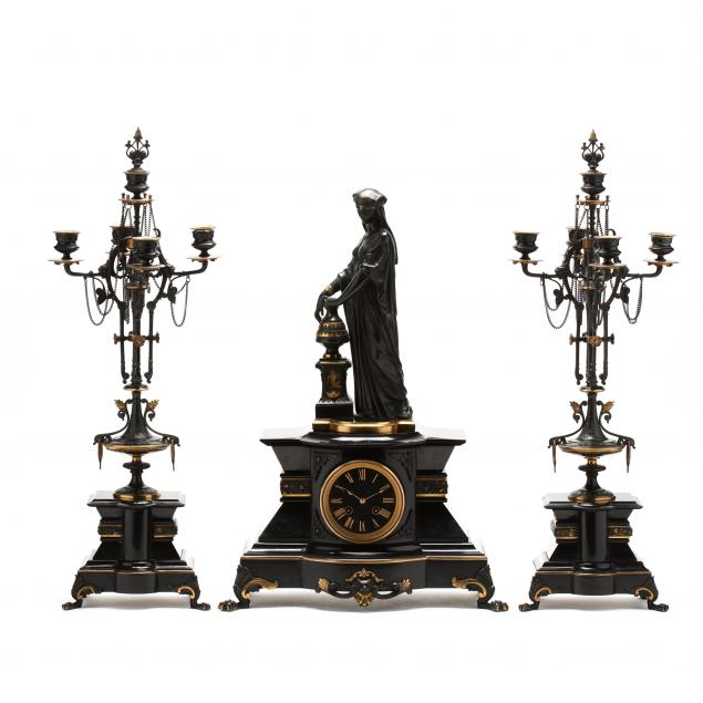 french-three-piece-figural-clock-garniture-set