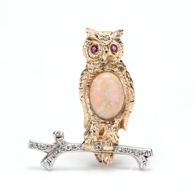 14kt-gold-opal-diamond-and-ruby-owl-brooch