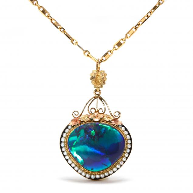 vintage-gold-opal-and-pearl-necklace