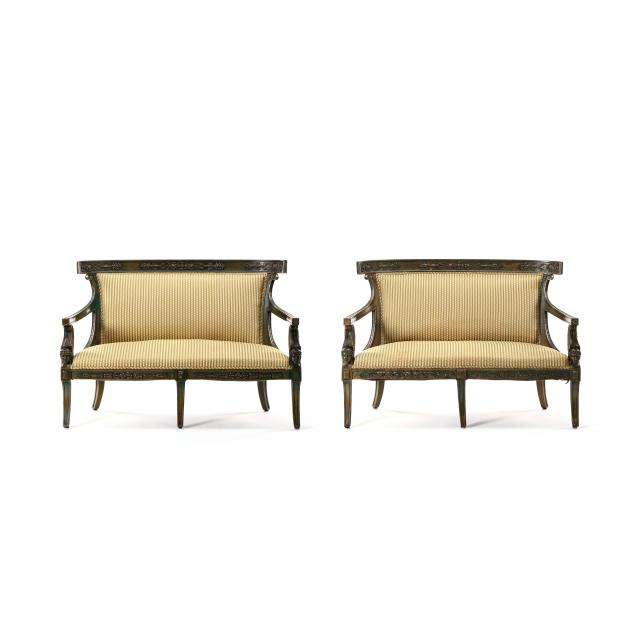 pair-of-neoclassical-style-carved-and-painted-settees