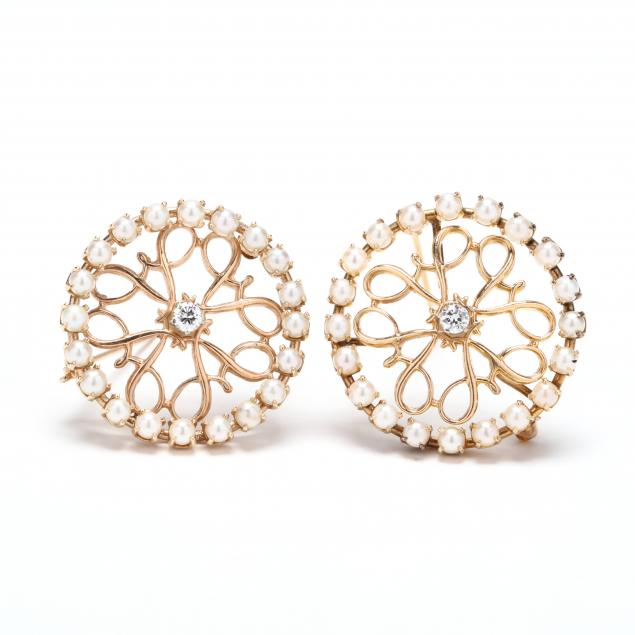 two-14kt-gold-diamond-and-pearl-brooches