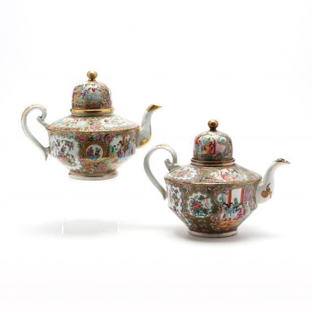 two-similar-chinese-export-famille-rose-dome-top-tea-pots