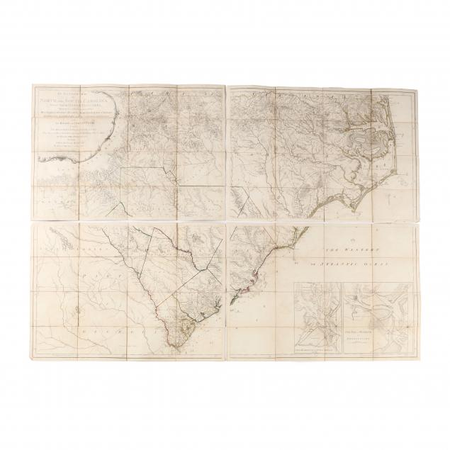 a-rare-folded-1794-edition-of-mouzon-s-celebrated-map-of-the-carolinas