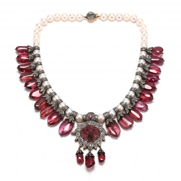 gold-silver-diamond-and-gemstone-fringe-necklace