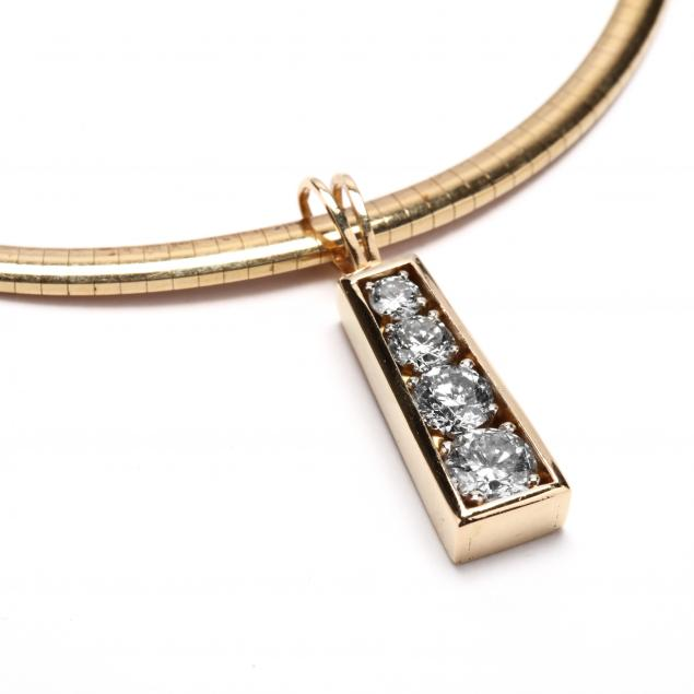 14kt-multi-diamond-pendant-with-14kt-gold-omega-necklace
