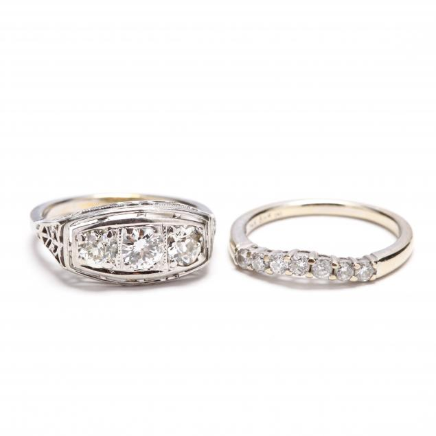 two-14kt-white-gold-and-diamond-rings