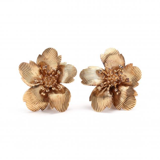 vintage-14kt-gold-flower-earrings-cartier