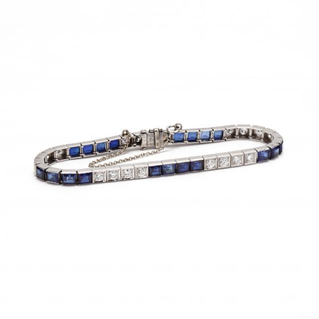 platinum-diamond-and-synthetic-sapphire-bracelet