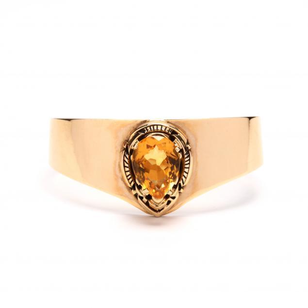 14kt-gold-citrine-cuff-bracelet-robert-kelly