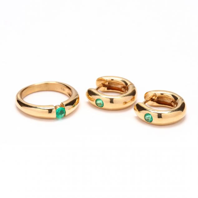 18kt-gold-emerald-ring-and-earrings