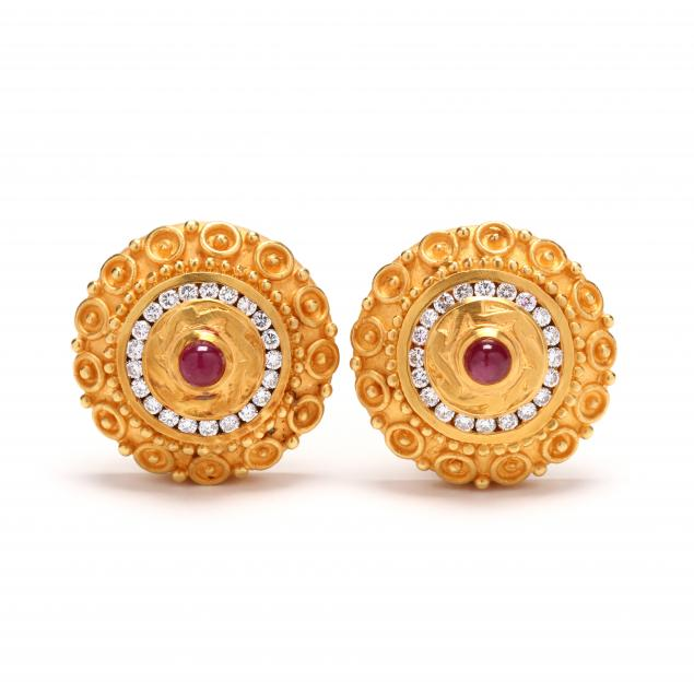 18kt-gold-diamond-and-ruby-earrings