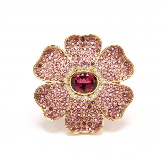 18kt-gold-pink-tourmaline-pink-sapphire-and-diamond-brooch-pendant
