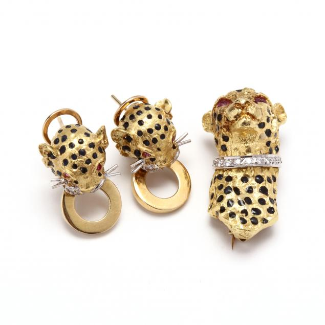 18kt-gold-enamel-and-gem-set-cheetah-earrings-and-brooch-pendant
