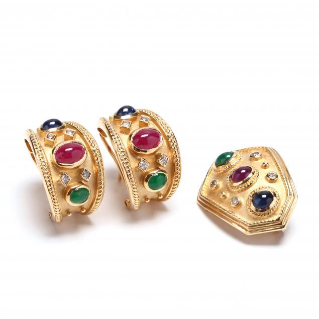 14kt-multi-gem-set-earrings-and-slide-pendant