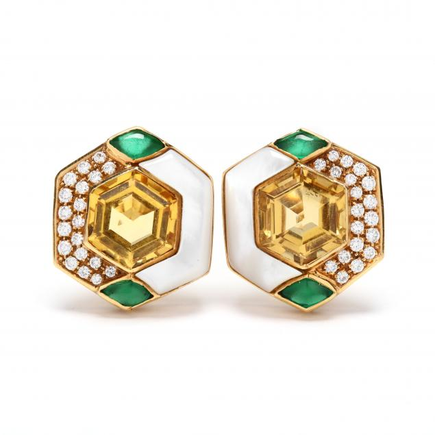 18kt-gold-citrine-diamond-and-mother-of-pearl-earrings