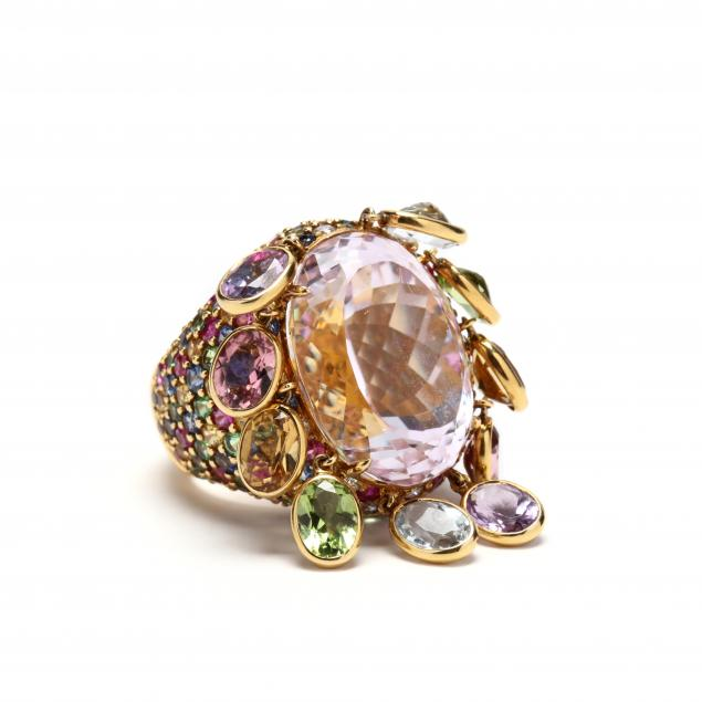 18kt-kunzite-and-multi-gemstone-ring