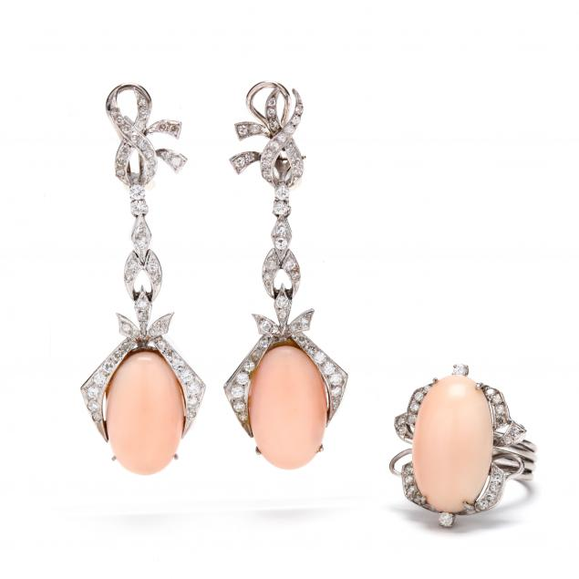 white-gold-angel-skin-coral-and-diamond-ring-and-ear-pendants