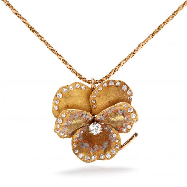 art-nouveau-14kt-gold-enamel-and-diamond-brooch-pendant-necklace