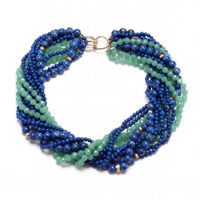 14kt-gold-lapis-and-aventurine-quartz-torsade-necklace