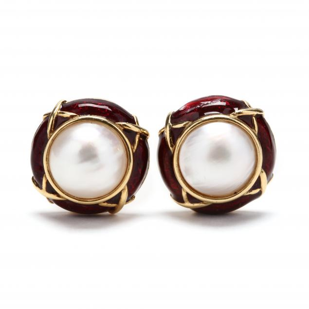 18kt-gold-mabe-pearl-and-enamel-earrings