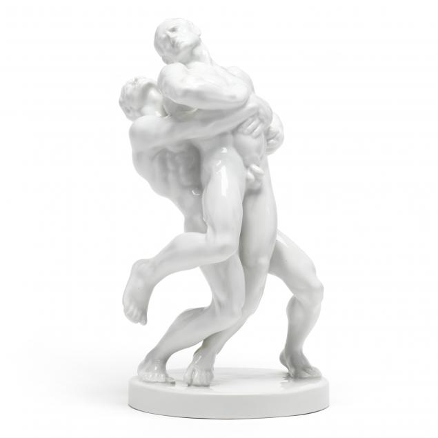 herend-porcelain-sculpture-of-olympic-wrestlers