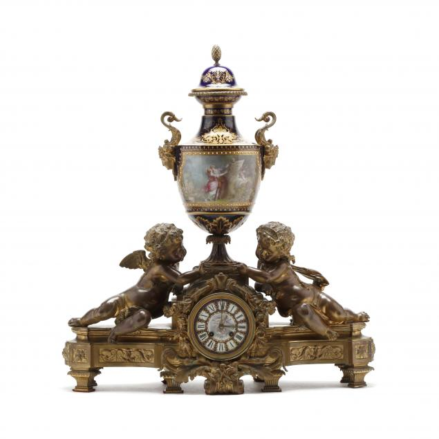 louis-xv-style-bronze-and-porcelain-mantel-clock