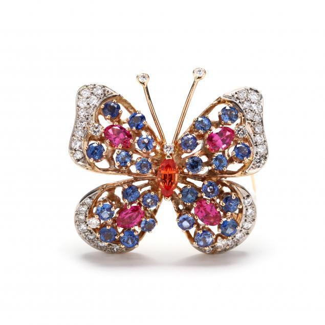 gold-diamond-and-multi-color-sapphire-brooch
