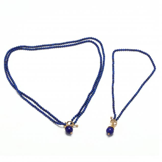 two-14kt-lapis-bead-necklaces-with-18kt-gold-lapis-pendants