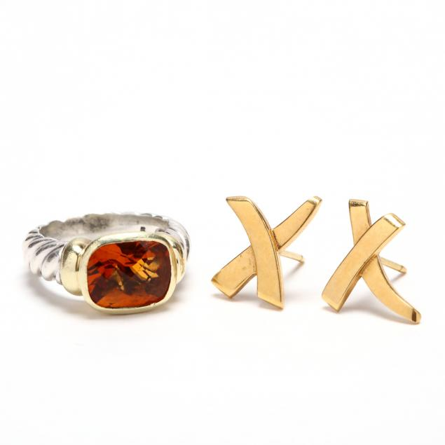 a-david-yurman-citrine-ring-and-a-pair-of-tiffany-co-18kt-gold-earrings