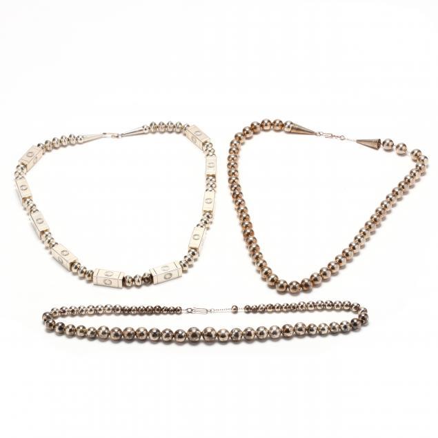 three-handmade-silver-bead-necklaces