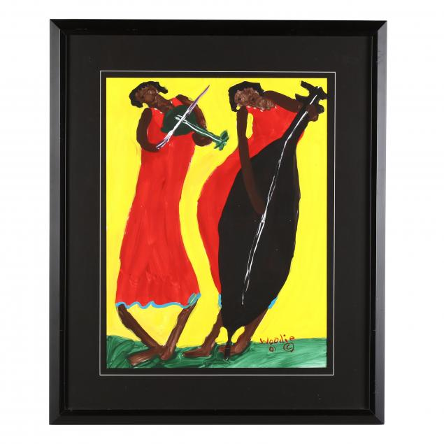 folk-art-painting-woodie-long-fl-alabama-1942-2009-the-duet