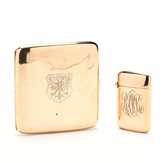 a-vintage-9kt-gold-cigarette-case-and-a-vintage-10kt-gold-match-strike