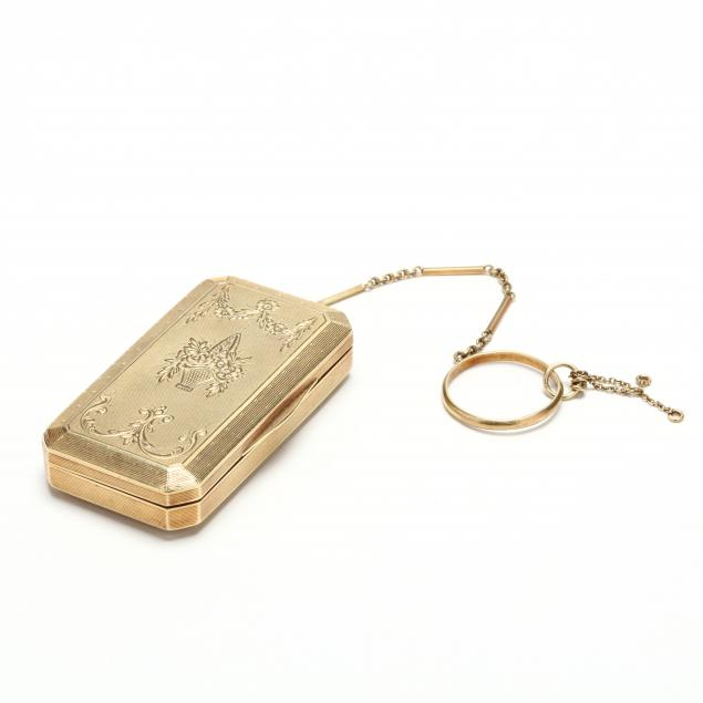lady-s-vintage-14kt-gold-compact-with-chain-and-finger-ring