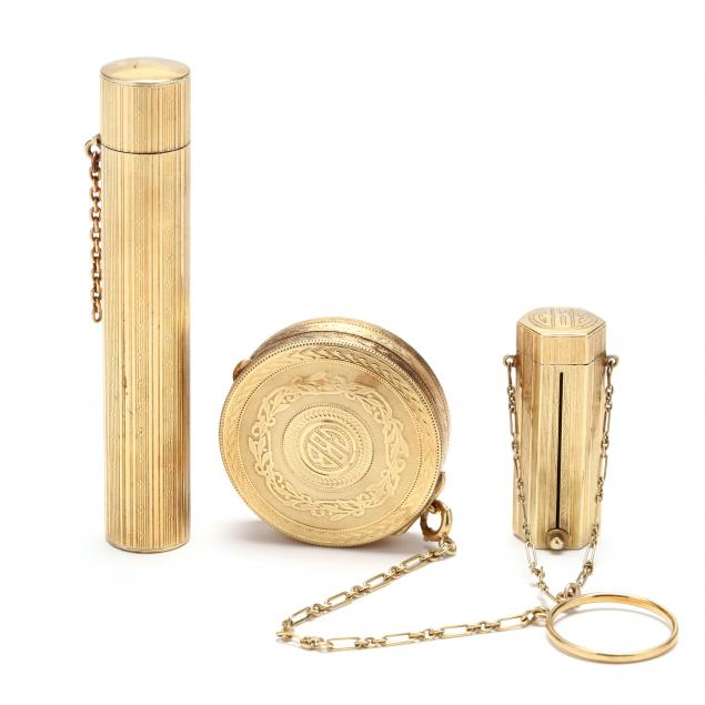 antique-14kt-gold-compact-and-lipstick-holder-set-and-a-14kt-scent-bottle