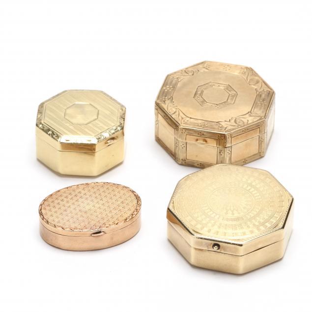 four-antique-gold-pill-boxes