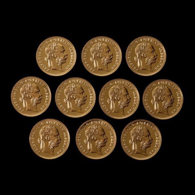 austria-lot-of-ten-gold-trade-ducats-1915-proof-restrikes