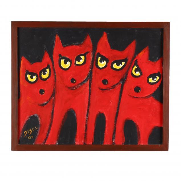 folk-art-painting-walt-desel-key-west-artist-1920-2006-devil-dogs-i-key-west-i