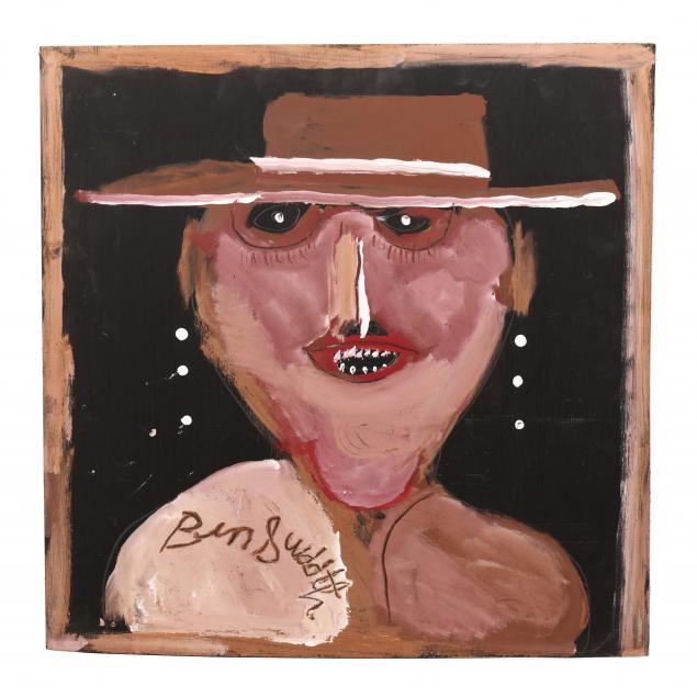 folk-art-painting-jimmy-lee-sudduth-alabama-1910-2007-man-in-a-hat